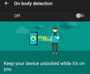 On-body detection for mobile